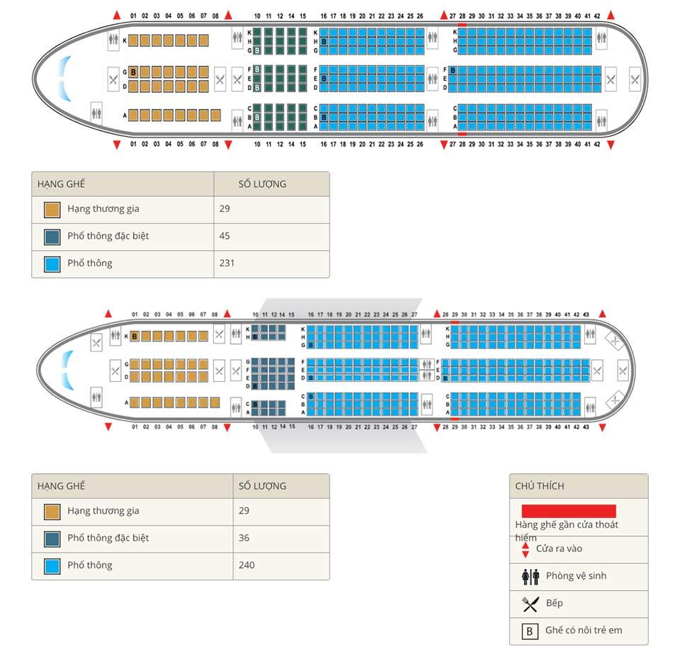 ghế ngồi trên chuyến bay a350